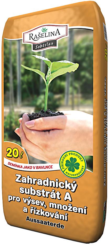 Zahradnický substrát A pro výsev, obsahuje hnojivo na 6 týdnů, obsahuje jíl, má velmi dobrou jímavost vody a záhřevnost