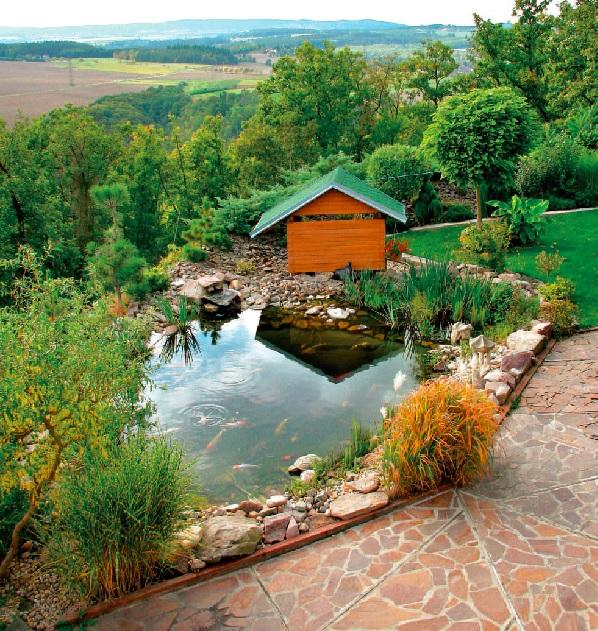 Zahrada s vinicí - jezírko