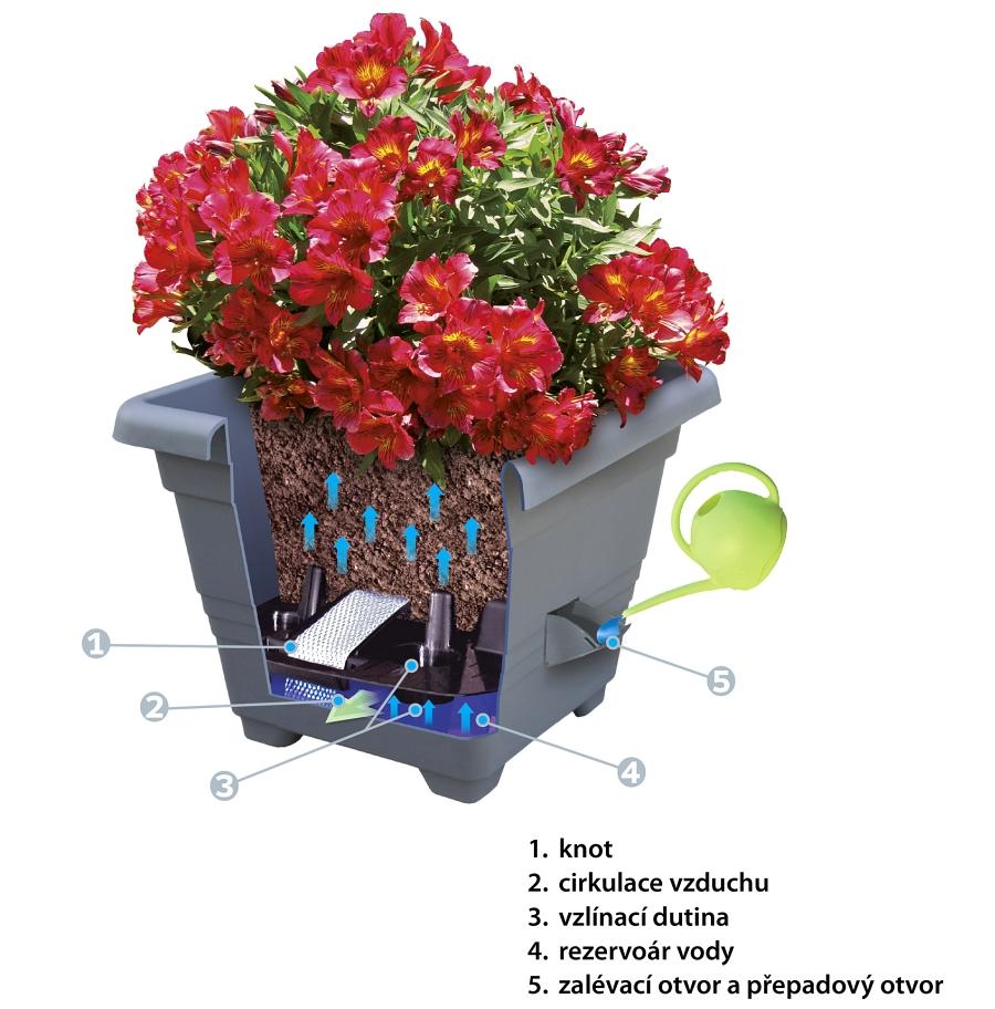 Schéma samozavlažovacího květináče