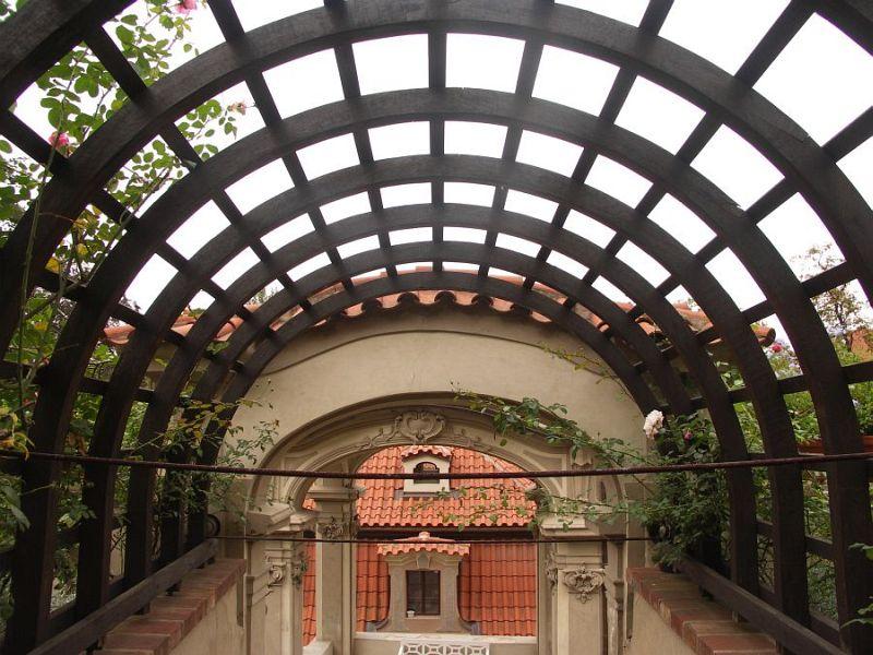 Dřevěné loubí nad schody v zámeckézahradě pod Pražským hradem porůstá pnoucími růžemi, které, až se zapojí, vytvoří přirozený kryt celé stavby